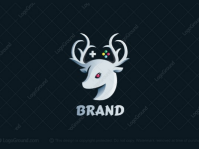 Deer Games Logo for sale deers logos gamer logo beautiful antelopes joystick gameboy playstation console controller games deer