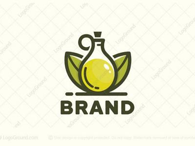 Olive Oil Logo (for sale) flask branding cosmetics plant leaf brand logos logo vegetarian food vegan leaves nature natural healthy grean olives oil olive