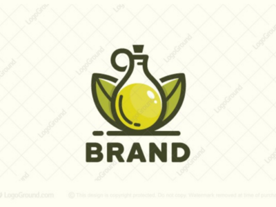 Olive Oil Logo (for sale) flask branding cosmetics plant leaf brand logos logo vegetarian food vegan leaves nature natural healthy grean olives oil olive