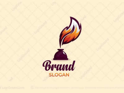 Fox Quill Logo (for sale) blog writer bottle pen fountain pot ink tail branding logos logo news reading author writing quill feather fox