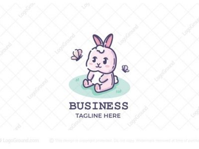 Spring Bunny Logo branding logo small baby cute flowers butterflies spring rabbit bunny