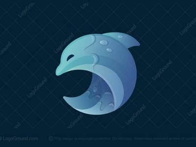Dolphin Wave Logo (sold) happy branding logos logo drops blue ocean sea water gradient modern creature animal marine wave dolphin