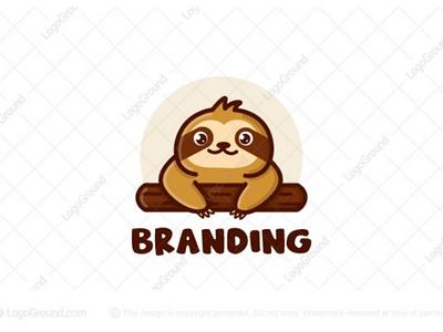 Cute Sloth Logo (for sale) branding logos logo tree branch hanging slow lazy animal cute sloth