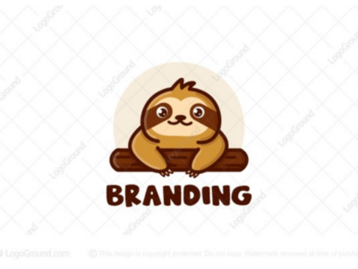 Cute Sloth Logo (for sale) branding logos logo tree branch hanging slow lazy animal cute sloth