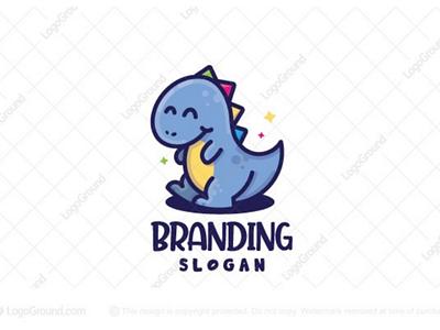 Happy Dinosaur Logo (for sale) branding logos logo shop brand cute colorful cheerful store toys children baby educational kids mascot cartoon fun happy dinosaur