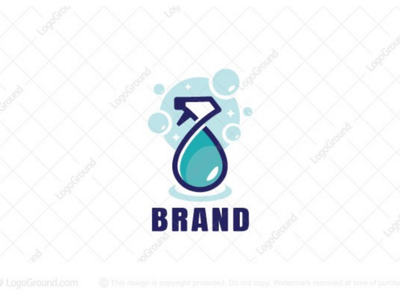 Cleaning Spray Logo (for sale) branding logos logo fresh clean sparkly bottle drops washing bubbles soap water cleaning spray