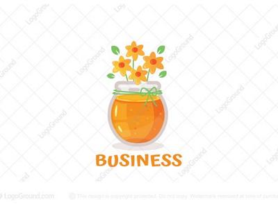 Floral Honey Logo (sold) tasty bee branding logos logo pot delicious sweet vase jars floral flowers honey