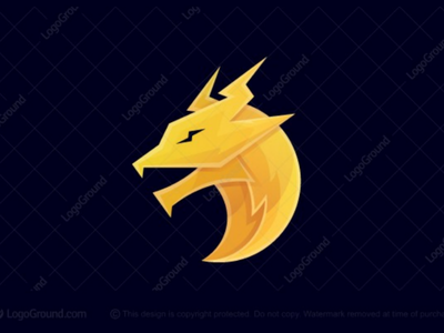 Electric Dragon Logo (for sale) gradient modern mascot branding logos logo creature monster mythical animal bolt electricity electric power dragon