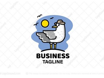 Seagull Logo (for sale) branding logos logo seagulls birds landscape seabirds gull sea cartoon cute bird seagull