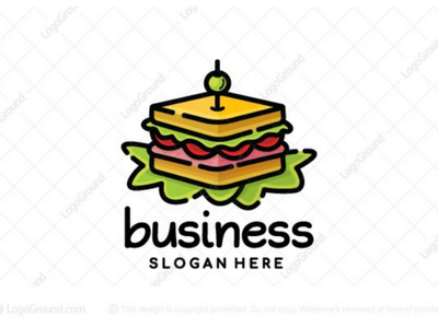 Healthy Sandwich Logo (for sale) toast chicken meat lettuce tomatoes olive branding logos logo sandwiches catering eatery clubhouse restaurant diner food delicious greens healthy sandwich