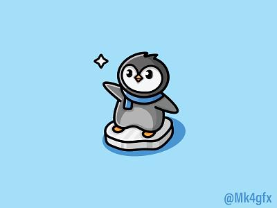 Cute Penguin Logo (for sale) mascot cartoon skating cold snow ice star northstar happy fun illustration design logo 2d modern animal logos branding logo cute penguin