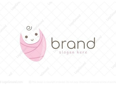 Baby logo for sale modern logo 2d baby logo clothes blanket pink logo cute baby