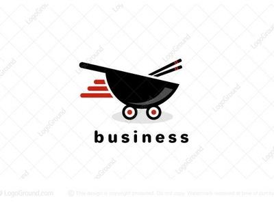 Asian Food Delivery logo for sale chopsticks chopstick wok logo 2d logo fast noodles sushi delivery food asian food asian