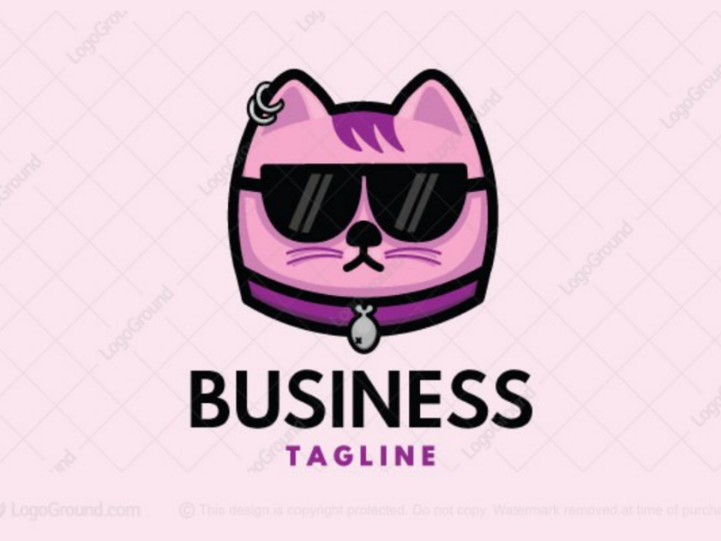 Cool cat logo for sale pink fish kitty geek glasses logo cute punk pet cool cat
