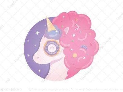 Sweet Unicorn logo for sale rainbow bakery pony horse lollipop candy doughnut ice cream sweets sweet unicorn
