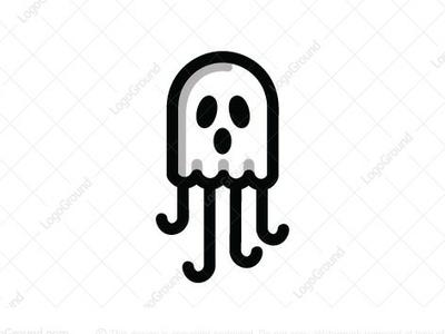 Ghost Jellyfish logo for sale logo design logo 2d logo funny spirit squid octopus jellyfish ghost