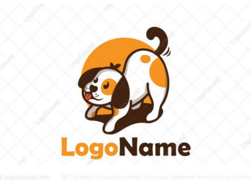 Excited dog logo for sale logo petcare petstore pet cute excited exciting happy doggy puppy dog