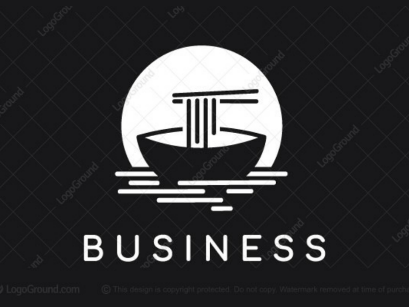Noodles boat logo for sale moon light night sushi restaurant japanese asian food chinese ship boat noodles