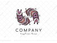 Boho feathers logo for sale