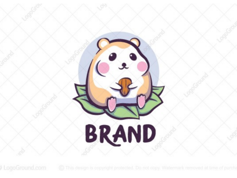 Chubby hamster logo for sale mouse logos branding logo eating fat chubby nuts leaf leaves cute hamster