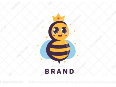 Queen Bee logo for sale adorable magical stars crown branding logo comb hive buzz cute honey queen bee