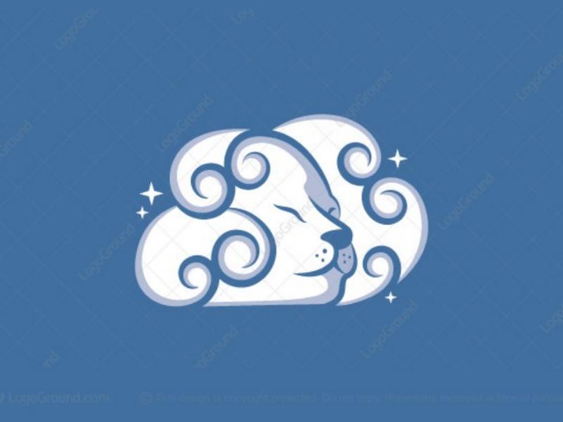 Lion cloud logo for sale branding logos logo clouds sky dreamy server networking data connection lioness dream stars cloud lion