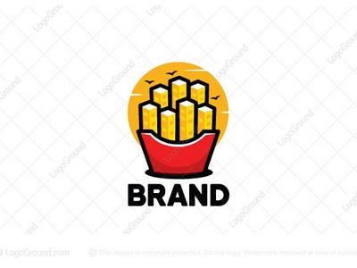 Fries City logo for sale branding logos logo birds sky sun buildings eating restaurants fastfood food fast potatoes french city fries