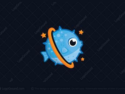 Fish Planet logo (SOLD) marine branding logos logo games kids fishing cute round stars sky space planet bubble blow blowfish pufferfish puffer fish
