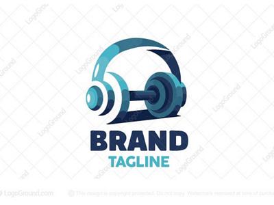Heavy Music Logo for sale branding logos logo podcast songs strong heavy listening earphone workout exercise barbell gym dumbbell headphone music