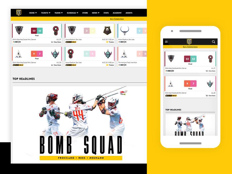 Premier Lacrosse League Score Ticker website svg ux sports lacrosse ui design