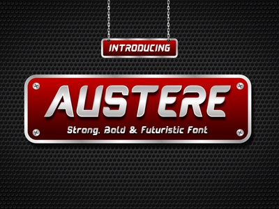 Austere Display Font branding game strong modern bold sporty font display font font awesome font design sporty futuristic display font