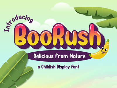 BooRush | A Childish Display Font lettering font design branding logotype bold font childish rounded cartoon fonts