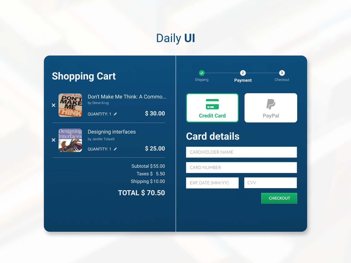 Daily UI #002 - Credit Card Checkout user interface web design ui web design checkout dailyui