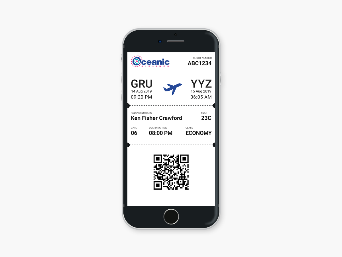Daily UI #024 - Boarding Pass oceanic airlines boarding pass user interface ui design dailyui