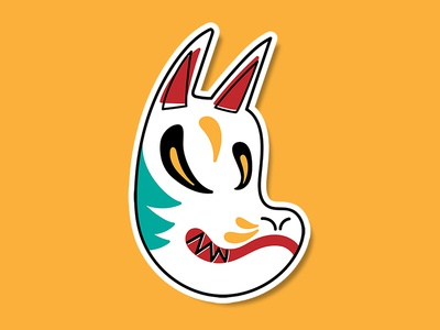 Kitsune renard illustration folklore mask japanese sticker fox kitsune