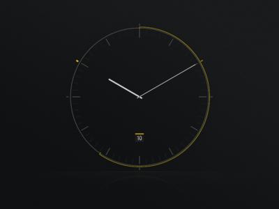Clock interface ui calendar dark braun minimal screensaver watch clock