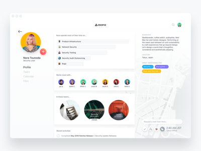 Futurasana – Teammate Profile feed project management asana contacts dashboard admin user profile account