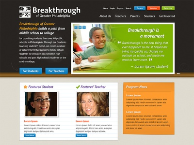 Breakthrough Philly (Unused Design) homepage web education school chalkboard