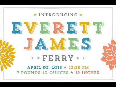 Everett James Ferry announcement baby birth
