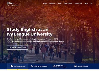 English Language Program - Hero education university website design web hero header