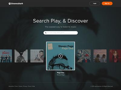 Grooveshark Landing Page WIP ux psd musicui music flat landing page landing redesign grooveshark