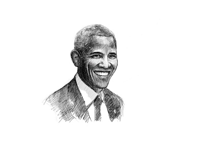 Obama portrait portrait draw inked illustration