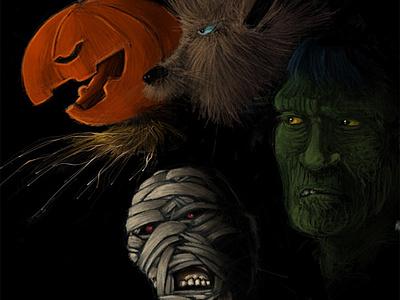 Monster Squad freehand illustration