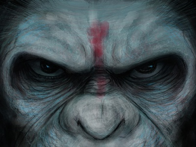 Planet Of The Apes freehand drawing illustration