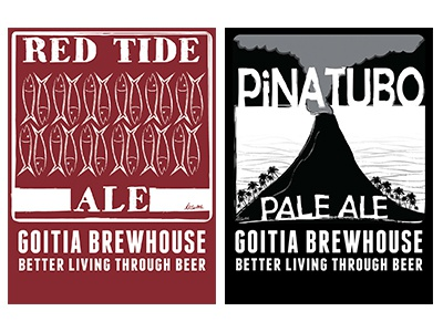 B Goitia Brewhouse packaging print beer labels