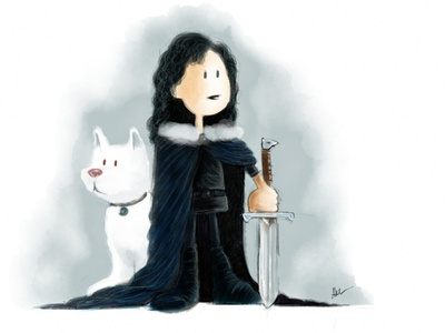 You Know Nothing Jon Snow freehand illustration