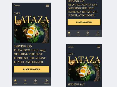 Mobile Breakpoint for Cafe La Taza design navigation navigation bar bottom navigation bar layout food cafe image interaction shot follow interface ui design uiux mobile ui ux ui