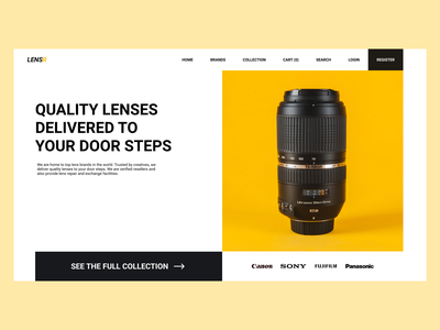 Online Lens Store Landing Page camera lens online shop online store online black yellow camera lens start up startup design ecommerce web design minimal ui ux ui