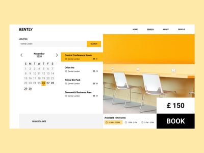 Dashboard for Rently startup renting web design design time conference hall conference booking location search calendar dashboard ux uiux ui yellow office space office rent
