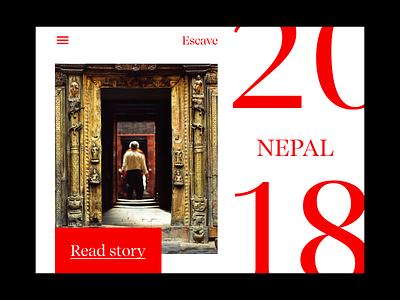 Travel Stories idea concept uiux blog travel web type grid minimal red nepal web typography typography minimal ui web design ux ui
